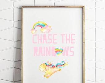 70% OFF SALE rainbow and unicorn print, rainbow wall art, childrens room decor, kids room decor, download poster