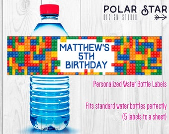 Toy Building Construction Blocks - Personalized Child Birthday Water Bottle Labels - Printable Digital File (WBL62)