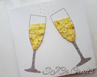 Beautiful Champagne Glasses, Celebration, Wedding, Engagement, Congratulations, Mr&Mrs Button Picture Art