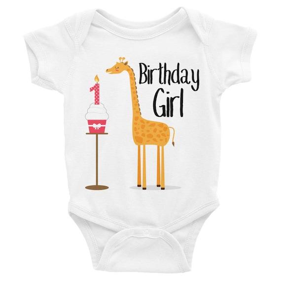 Giraffe Birthday Shirt, Birthday Girl Onesie, First Birthday Infant Bodysuit, Cute Giraffe Cupcake Birthday Shirt for Kids