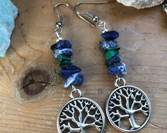 Sodalite and Malachite earrings with Tree of Life