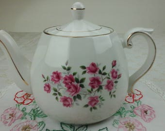 Ellgreave ironstone teapot with roses.  Wood and Sons, England.