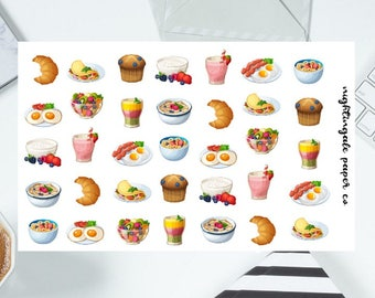Breakfast Planner Stickers - Food, Muffin, Fruit, Smoothie Planner Stickers