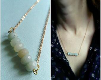 crew neck beads amazonites