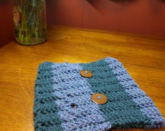 """Cowl, knit, wool, blue and green vertical stripes, brown buttons, 15"""" round 8"""" tall, handmade"""