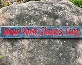 HAND CARVED/New York Giants Fan Wood Sign/NY Giants Wooden Sign/Hand Carved Sign/Handmade Wooden Sign/Sports Sign/Football Wood Sign