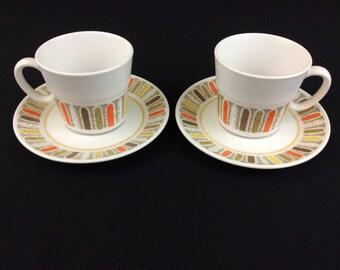 "Noritake Progression ""Mardi Gras"" 2 Cups and 2 Saucers #9019"