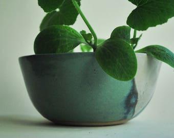 Large Handmade Ceramic Planter, succulent planter, ceramic pot, white blue/green stoneware planter, housewarming gift, pottery plant pot