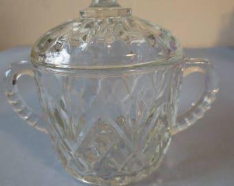 Sugar bowl, vintage; Czech Bohemian cut glass/crystal, clear