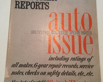 Vintage Consumer Report Auto Wdition 1963