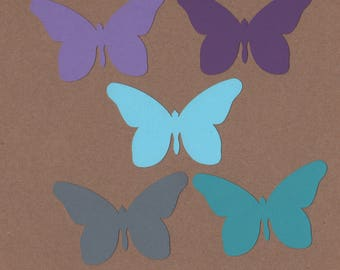 25 - 2 inch tall Butterfly Die Cuts for Paper Crafts Cool Waters Colors Set 17