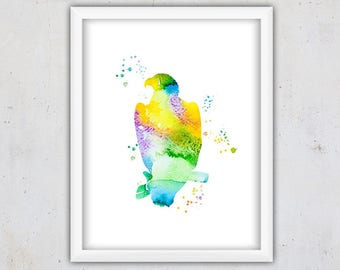 Bird Nursery Print, Eagle Bird Art Print, Modern Bird Print, Watercolor Printable Art, Watercolor Download Wall Print, Bird Instant Download
