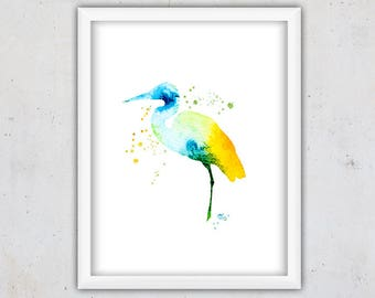 Nursery Print, Heron Bird Print, Download Printable Art, Nursery Wall Decor, Modern Digital Art, Watercolor Bird Print, Abstract Wall Art
