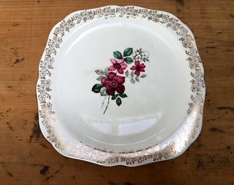 Vintage English China Cake Plate ~ Vintage Lord Nelson Ware Cake Plate ~ Pretty Floral Cake Plate