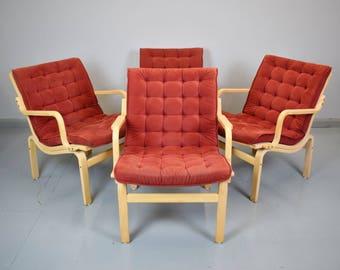 1 of 4 Mid Century Retro Danish Red Alcantara Lounge Desk Dining Armchair