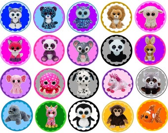 Beanie Boo Babies Edible Images Cupcake, Cookie Toppers