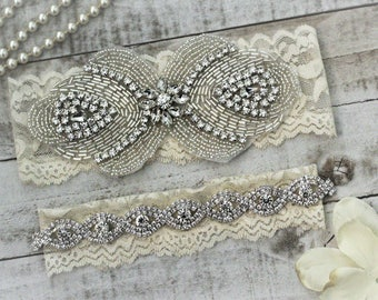 Ivory Wedding Garter Gatsby Style Bridal Garter Set NO SLIP grip vintage rhinestones, pearl and rhinestone garter set