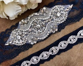 Navy Wedding Garter Set NO SLIP grip vintage rhinestones, pearl and rhinestone garter set, Something Blue