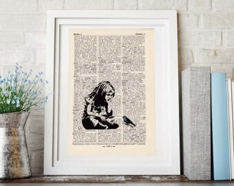 Print Banksy-Girl and bird-on antique page