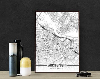 Amsterdam-Just a map-din A4/A3-Print