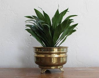 VACATION SALE Vintage Brass Planter, Footed Brass Planter, Brass Plant Pot, Brass Plant Holder, Home Decor, Brass Cachepot, Regency Planter,