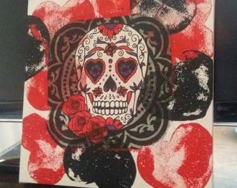 Sugar Skull Canvas, Gothic, Day of the Dead, decoupage, art canvas, Halloween