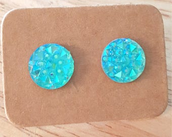 Faux Druzy studs, Stainless Steel Earrings, Aqua Faux Druzy, Druzy Earrings, Druzy Studs, Stainless Steel Studs, Trendy Earrings, Christmas