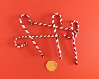 Vintage Small Foil Striped Candy Canes / Christmas Tree decorations, Miniature Foil Candy Canes, Candy Cane Christmas ornaments
