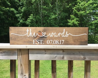 Custom Name Sign - Wedding Gift - Last Name Sign - Bridal Shower Gift - Rustic Wood - Custom Personalized - Gift for Couple - Gift for Bride