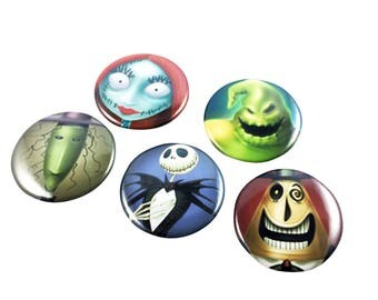 Nightmare Before Christmas Badge Set - Pin Back Buttons Party Favors Supplies Jack Skellington Sally Oogie Boogie Costume Halloween