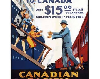 Canada Travel Poster - Vintage Travel Print Art - Home Decor - Canadian Pacific Steamships - Great Britian