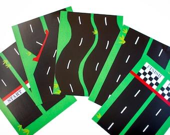 Toy Car Play Mat, Race Track Set. Printable Road Play Mat
