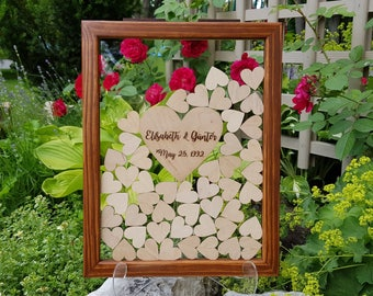 Wedding Guest Book Alternative Guest Book Personalized Drop Top box Heart Guestbook Rustic guestbook Memory Box Wooden Guestbook glassy