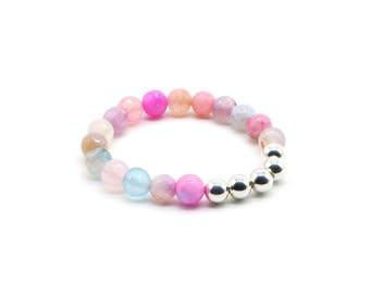 Beaded elegant gemstone bracelet/ silver/ agate