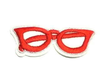 Red Glasses Patch, Red Frames Heart Glasses Patch, Glasses Iron on Patch - H1105