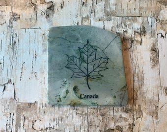 Natural Stone Coaster - Canada | Maple Leaf