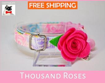 Cat collar with bow flower 'Thousand Roses' - pretty cotton collar - rose cat collar - breakaway cat collar - floral cat collar