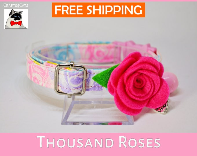 Featured listing image: Cat collar with bow flower 'Thousand Roses' - pretty cotton collar - rose cat collar - breakaway cat collar - floral cat collar
