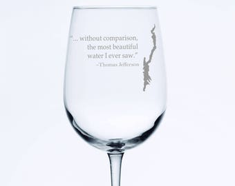 Set of 2 Lake George with Thomas Jefferson quote  - Etched 18.5 oz Stemmed Wine Glass