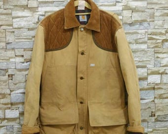 Vintage Carhartt United Garment Workers America Lined Chore Coat Blanket Lined Duck Jacket Union Made in Usa Corduroy Collar Work Wear