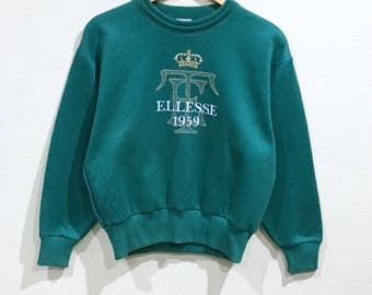 Sale!!! Vintage 90's Ellesse Sweatshirt Big Logo Wmbroidery Sportwear Nice Rare Green Colour Pullover Jumper Sweater Hip Hop - Excellen