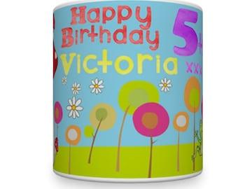 Birthday Girl Mug With Wishing Well Theme. Personalised Birthday Mug For Little Girl. Kids Mugs. Children's Mugs. Gift For Little Girl.