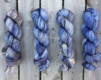 Blueberry Crumb Cake- Sturdy Sock / Merino Cashmere Hand Dyed Speckled Sock Yarn Superwash Merino Nylon