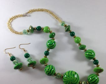 Green and gold Earrings/Necklace Set.