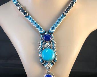 Macrame Necklace with Lápis Lazuli, Turquoise and Sterling Silver by #ishaelafi, #macrame @ishaelafi