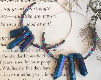Blue Colbalt Aura Quartz Earrings - Quartz Hoop Drop Earrings - Aura Quartz Jewellery - Aura Quartz Earrings - Metaphysical Jewellery