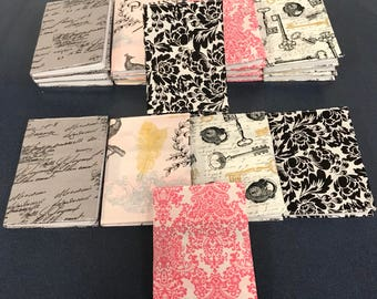 Free Shipping! Set of five fabric covered mini journals in whimsical romantic Paris design great for party or shower favors