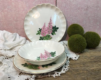Vintage W S George Three Piece Set/Pink Lupine/Replacements/Farmhouse Dishes
