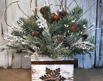 Winter or Christmas Arrangement in Winter White with Bells, Holiday Arrangement, FAAP, Snowflake Arrangement, Winter Centerpiece, Farmhouse