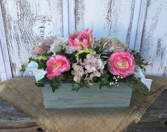 Spring Floral Arrangement in Italian Sage Distressed Wood Box, Summer Arrangement, Wedding Centerpiece, Mothers Day, Easter Decor
